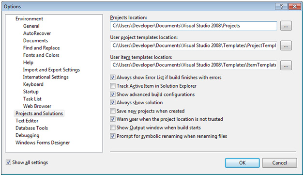 Figure 4. Visual Studio Express Options window. Icon