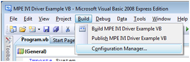 Figure 5. Configuration Manager menu now selectable from menu. Icon