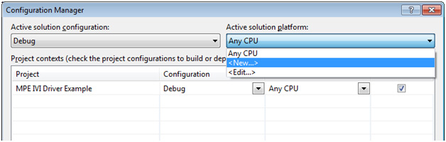 Figure 6. Configuration Manager's options for Active solution platforms. Icon