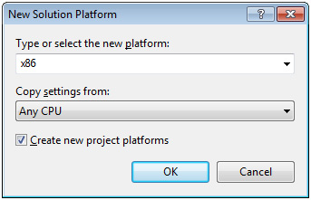 Figure 7. Configuration Manager's New Solution Platform window. Icon