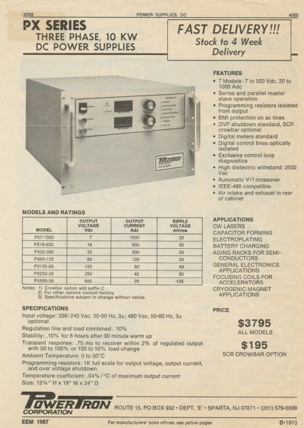 Fig. 3 Magazine Advertisement for the Magna-Power's First Ac-Dc Product: PX Series Supply (1987). Icon